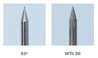 Сравнение износа пика электрода E3 и WT 20