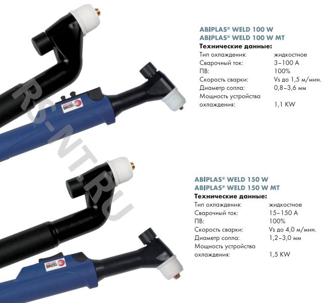 Горелки для плазменной сварки ABIPLAS WELD 100W, 100W MT, 150W, 150W MT